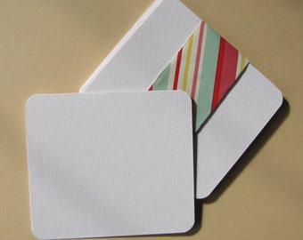 Cards of watercolor paper 300gr blank - (set of 10) - 10 x 8, 8 cm - edges rounded
