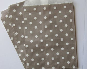 5 bags paper bleached kraft - 13x18.5 cm Mole packaging white polka dot gift, creation, treats