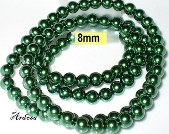1 strand 82cm = 114 glass pearls 8 mm olive green (808.59.1)