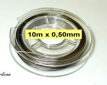 1 roll 10m wire 0, 50 mm clear Silver (1045.21)