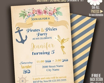 Pirates and Pixies invitation, Printable Fairy invitation, Instant Download self Editable PDF File A184