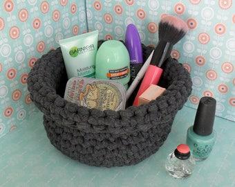 Grey crochet basket