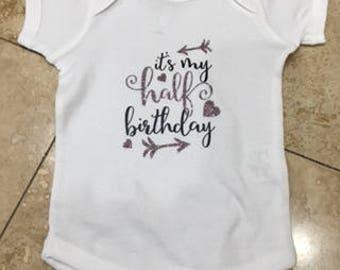 1/2 birthday girls  bodysuit, 6 months birthday outfit, 1/2 birthday outfit