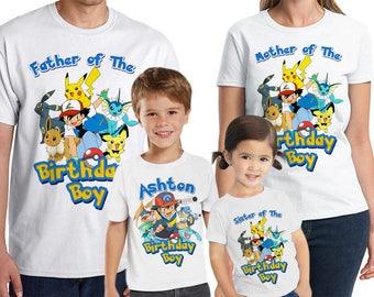 Pokemon Birthday Shirt Customized birthday party shirt Add Name & Age Pokemon Family Shirts LL 07