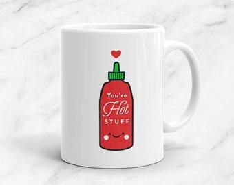 Hot Stuff Mug, 11 oz, Vegan, Expression, Pun, Heart, Kawaii, Cute, Funny, Love, Pun, Gift, Valentine's Day, Anniversary, Sriracha, Sauce