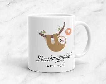 Cute Sloth Mug, 11oz, Animal Mug, Anniversary, Vegan, Vegetarian, Plant Based, Valentine's Day, Kawaii, Cute, Pun, Funny, Love, Gift, Couple