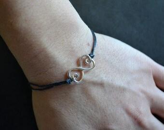 Linen Bracelet, Women's bracelet, Men's bracelet, Linen Jewelry, Sterling Silver Bracelet, Multistrand Linen, Birthday, Gift for Her