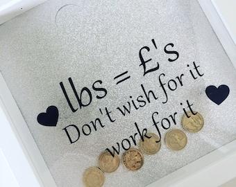 Weight loss motivational saving boxframe pounds for pounds