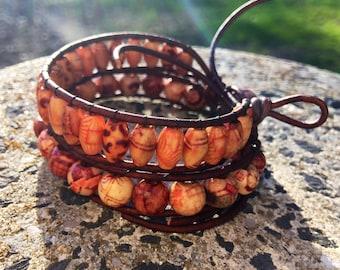 SALE - Natural Leather & Wood Bead Bracelets. Matching Bracelet Set. Beaded Leather Bracelets. Handmade Jewelry.