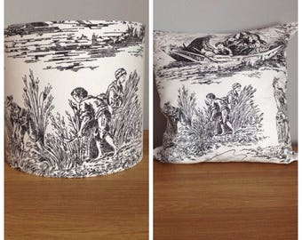 lampshade and cushion french toile de jouey 20cm lampshade