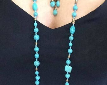 Turquoise, necklace, long tie necklace, real turquoise, one of a kind, elegant, unique