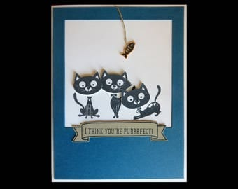 Whimsical Black Cat Note Card