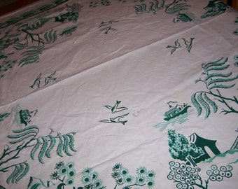 Vintage Simtex oriental tablecloth with cloth tag