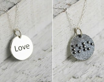 Braille Love - Sterling Silver Love Braille Necklace - Braille Jewelry - Braille Gift for Her  Blind or Visually Impaired Jewelry  Love Gift