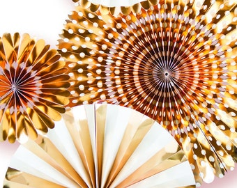 Gold Foil Party Fan Set / Gold Foil Fans / Party Fans / Paper Fans / Metallic Gold