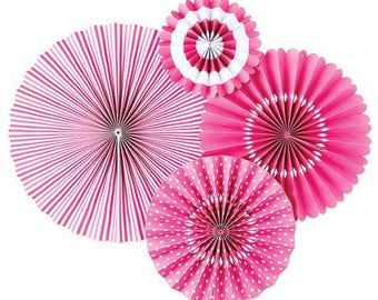 Bright Pink Party Fan Set / Pink Fans / Party Fans / Paper Fans / Bright Pink Decor