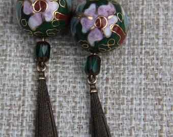 Green Vintage Cloisonne Antique brass teardrop earrings Czech glass