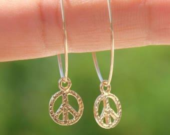 Peace Earrings, Peace Sign Jewelry, Peace Sign Hoops, Peace Symbol Earrings, Gold Hoops, Silver Hoops, Gold Thin Hoop Earrings, Hippie Jewel
