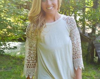 Monogrammed - Crochet Sleeve Trapeze Tunic - Cream