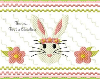 Shabby Easter Bunny Rabbit Flowers Faux Smocking Digital Embroidery Machine Design File 4x4 5x7 6x10