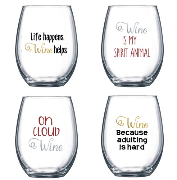 Set Of 4 Stemless Wine Glasses With Funny Cute Sayings