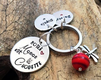 Hand Stamped Maman Chouette, French Personalised Metal Keyring