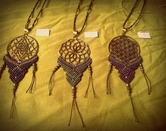 SALE! Necklace macrame mixed sacred geometry flower of life necklace