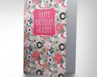 Card Birthday Happy Granny Gran Psychedelic Pattern Gift Cp2701