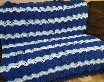 "Afghan, Throw, Blanket, crocheted afghan, Crocheted Blanket, Blue and white, 55"" X 72"""