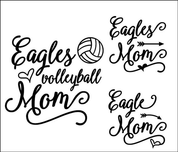 Eagles Script Volleyball Mom SVG, DXF, EPS, Silhouette