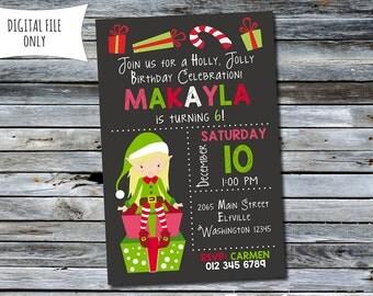 Girls Elf Invitation / Elf Holiday Birthday Invitation / Christmas Birthday Invitation (Personalized) Digital Printable File