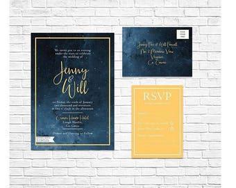 Starry Night Wedding Invitation Night Sky Wedding Invitation Celestial Wedding Invitation Star Wedding