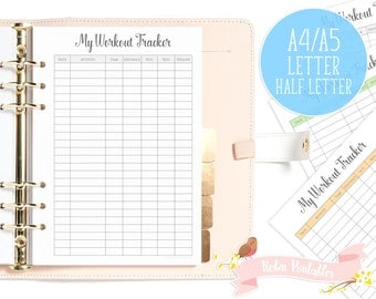 Workout Tracker Printable Fitness Planner Insert. A4, Letter, A5, Half letter size fits organizers like KikkiK or Filofax. Gym exercise log.