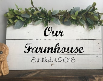 Farmhouse Sign- Established Sign- Rustic Home Decor- Housewarming Gift- Reclaimed Wood- Farmhouse Decor- Wood Sign- Anniversary Gift- Gift