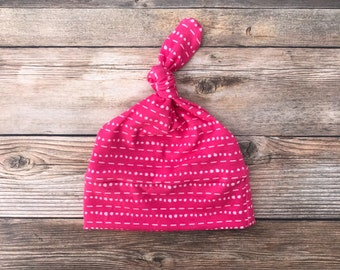 Baby Girl Hat - Pink Dots and Dashes - Baby Hat - Baby Girl Hat - Baby Beanie