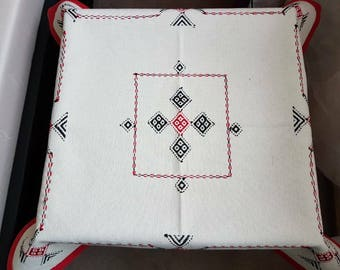 Indian Ethnic Hand Embroidered Cream Cotton Table Cloth Table Linen Tribal Embroidery Coffee