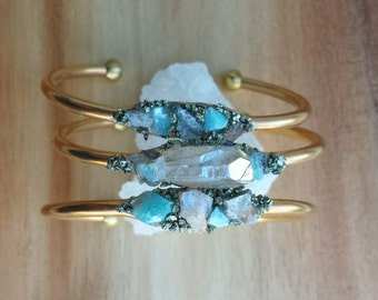 Petite Raw Gemstone Cuff Bracelet