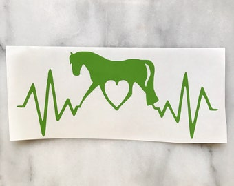 Heartbeat Trotting Horse Love Vinyl Car Decal - Equestrian Sticker