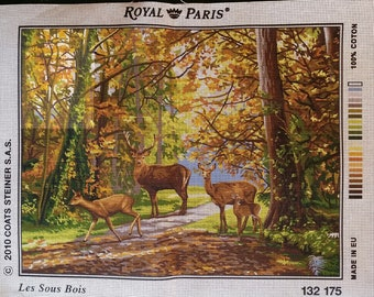 "Royal Paris white canvas ""sub wood"" wood, forest clearing, deer DOE Fawn 132 175 47cm x 37cm"