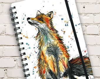 A5 Fox Print Hardback Spiral Bound Notebook
