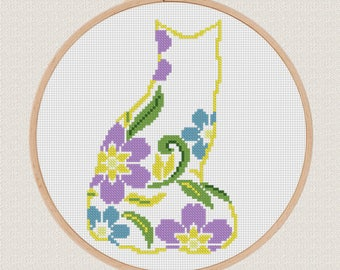 Flower cat Cross Stitch printable pdf pattern, Cat Pattern, floral cat silhouette, Modern Cross Stitch Animal Cross Stitch
