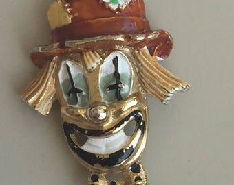 Adorable Vintage Hobo Clown Face Brooch .