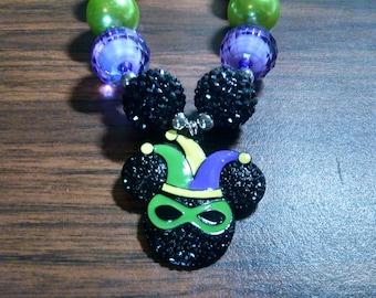 Mardi Gras Mouse Jester Hat Girls Bubblegum Necklace.  Mouse Gumball Necklace