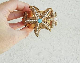 Vintage Starfish Gold Cuff
