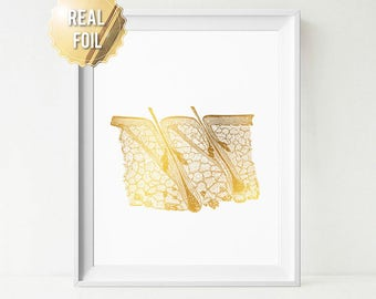 Dermatology Print - Dermatologist Office Decor - Dermatologist Gift - Antique Anatomy Gold Foil Print - Hair Epidermis Medical Illustration