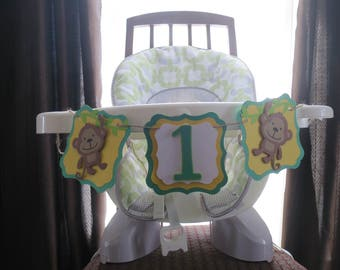 Monkey Theme Highchair Banner, FREE US SHIPPING, Monnkey I am 1 Banner, 1st Birthday Party, Jungle Birthday Party, Jungle Theme Birthday