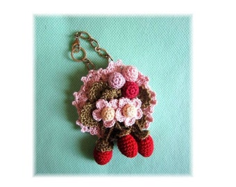 Handmade Lace Crochet Strawberry flower Motif Corsage/Bag Charm Pin