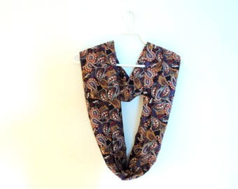 Infinity scarf. Scarf for woman. Toned emode for girl or woman. Dark blue scarf pesley.