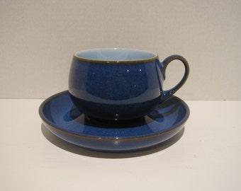Denby Coloroll BLUE Cup & Saucer w light blue inside, brown trim Stoneward England