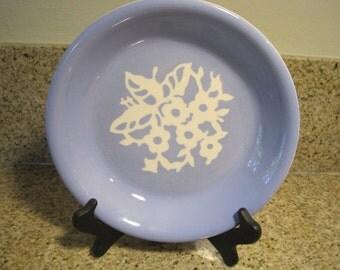 Harkerware Dainty Flower Blue Virginia Pie Plate (Cameo ware pat pending) Rare HTF